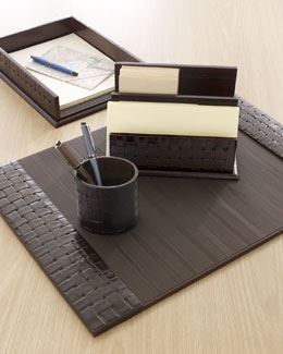 Woven Leather Desk Accessories