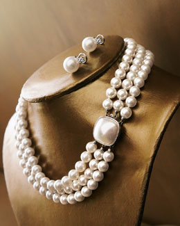 Majorica Three-Stand Pearl Necklace & Pearl-CZ Stud Earrings