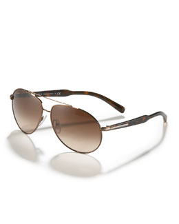 Prada Plastic-Arm Aviator Sunglasses