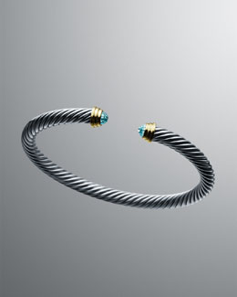 David Yurman 5mm Blue Topaz Cable Classics Bracelet.