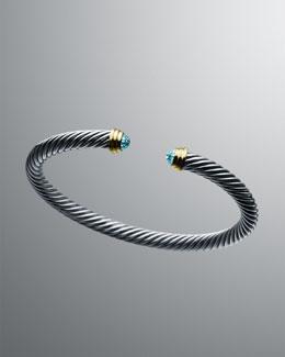 David Yurman 5mm Blue Topaz Cable Classics Bracelet.