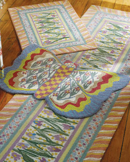 "MacKenzie-Childs ""Bearded Iris"" & ""Butterfly"" Rugs"