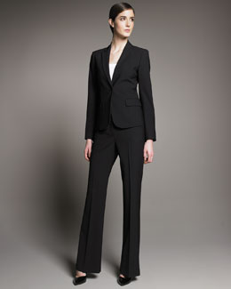 Theory Gabe Black Long-Sleeve Jacket and Classic Pants