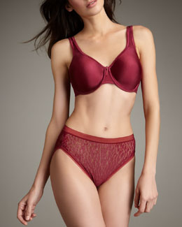Wacoal Basic Beauty Full-Figure Underwire Bra & Animal Tracks High-Cut Briefs