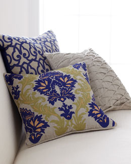 Decorative Pillows in Blue, Green, & Natural