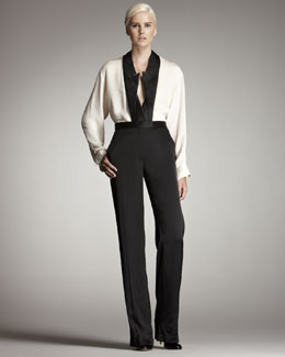 Stella McCartney Inverted Tuxedo-Lapel Blouse & Wide-Leg Pants