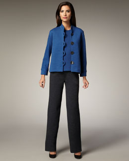 Caroline Rose Boxy Ribbed Jacket, Knit Shell & Straight-Leg Pants