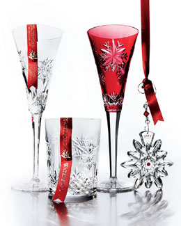 "Waterford Crystal ""Snowflake Wishes"" Crystal Holiday Barware"