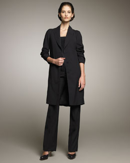 Jil Sander Stretch-Wool Silk-Plisse Coat, Blouson Camisole & Side-Zip Flare Pants