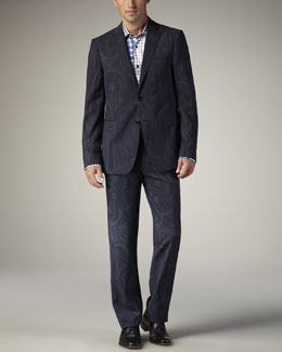 Etro Paisley-Print Suit & Patchwork-Check Shirt