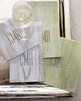 "Caspari ""Faux Bois"" Cocktail Napkins & Guest Towels"