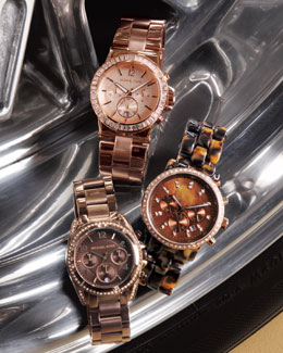 Michael Kors Baguette-Bezel Watch, Tortoise Show Stopper Glitz Watch & Brown Runway Watch with Glitz