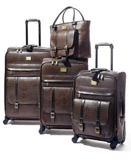 Adrienne Vittadini Matte-Brown Crocodile-Embossed Luggage Collection