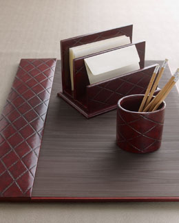 Burgundy Quilted Desk Accessories