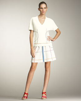 Fendi Squiggle-Stitched Top & Multicolor Skirt