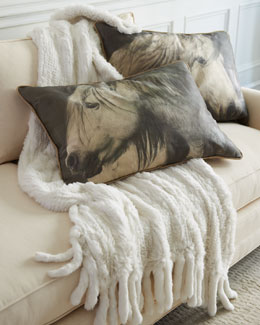 Adrienne Landau Horse Accent Pillows & Rabbit-Fur Throw