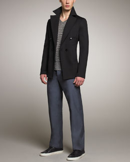 Giorgio Armani Double-Breasted Jersey Jacket & Printed Viscose Tee