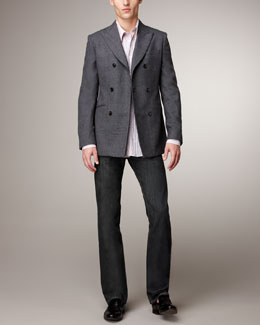 Alexander McQueen Double-Breasted Blazer & Dark-Wash Jeans