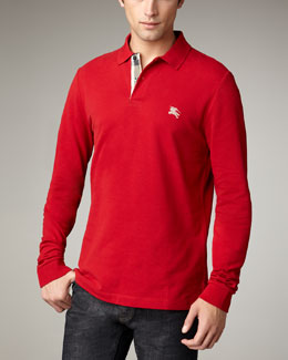 Burberry Brit Long-Sleeve Pique Polo