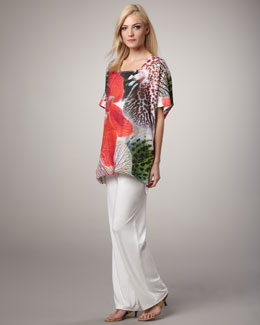 Caroline Rose Tropical-Print Tunic & Knit Straight-Leg Pants