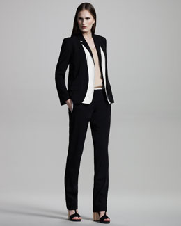Reed Krakoff Combo Blazer, Silk V-Neck Top & Tissue-Weight Slim Pants