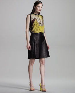 Reed Krakoff Falcon-Print Jersey Top & Leather & Silk Skirt