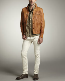 Diesel Button-Up Leather Jacket & Thanaz Skinny White Jeans