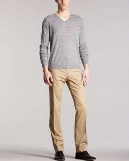 Burberry London Check-Shoulder Wool Sweater & Slim Cotton Pants
