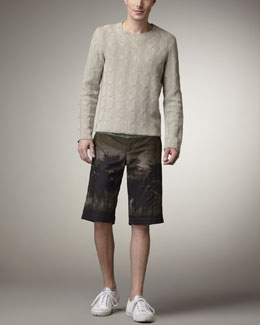 Valentino Cable-Knit Sweater & Hawaii-Print Shorts