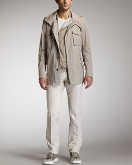 Lanvin Cotton Parka, Colorblock Blouson Jacket, Silk-Trim Tee & Cotton-Blend Pants