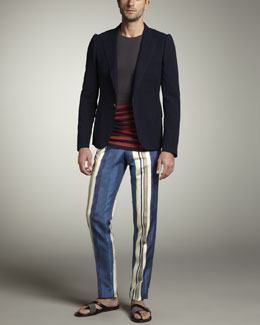 Lanvin One-Button Cotton Blazer, Stripe-Bottom Sweater & Striped Silk Pants
