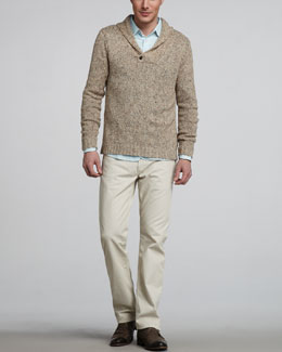 Rag & Bone Dorset Marled Shawl-Collar Sweater, Three-Quarter Placket Shirt & RB15X Twill Pants