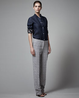 Stella McCartney Denim Shirt & Diamond-Print Silk Pants