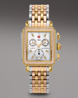 Michele Deco Day Diamond Tri-Tone Watch