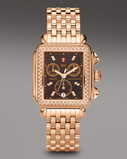 Michele Deco Day Diamond Watch, Rose Gold