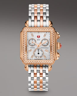 Michele Rose Gold Deco Day Diamond Watch Head & Two-Tone Bracelet Strap