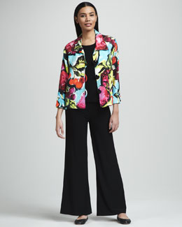 Caroline Rose Fruit-Print Pique Jacket, Basic Stretch-Knit Tank & Wide-Leg Crepe Pants