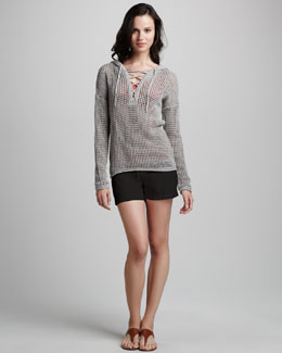 James Perse Knit Lace-Up Sweater, Basic Ribbed Tank & Knit Shorts