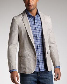 Zachary Prell Bedford Textured Blazer & Kuffner Windowpane-Check Shirt