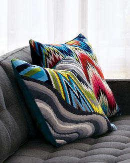 "Jonathan Adler Wool Needlepoint Bargello Pillows & ""Positano"" Pillow"