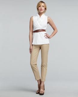 Lafayette 148 New York Lorelai Ruffled Sleeveless Blouse, Thin Double-Wrap Belt & Perry Twill Pants