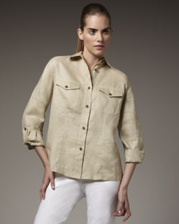 Go Silk Linen Safari Shirt & Pants, Petite