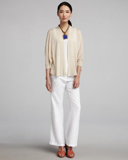 Eileen Fisher Thin Jersey Cardigan, Organic-Cotton Tank & Heavy Linen Wide-Leg Trousers