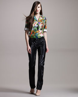 Altuzarra Palm-Print Blouse & Nylon-Blend Pants
