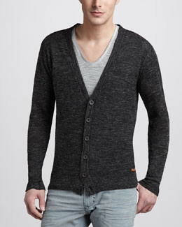 Diesel Linen-Blend Cardigan & V-Neck Military Tee
