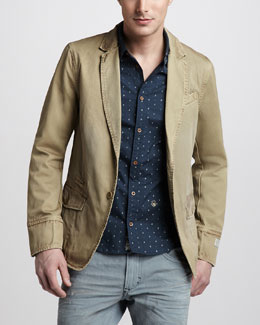 Diesel Treated Heavy Jacket & Printed Poplin Shirt
