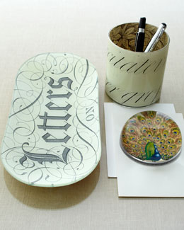 John Derian Peacock and Script Desk Accesories