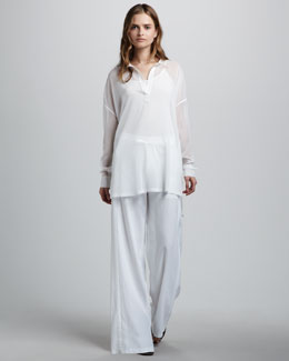 Vince Sheer Placket Tunic & Wide-Leg Drawstring Pants