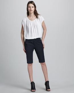 Vince Silk Peasant Top & Stretch-Twill Bermuda Shorts