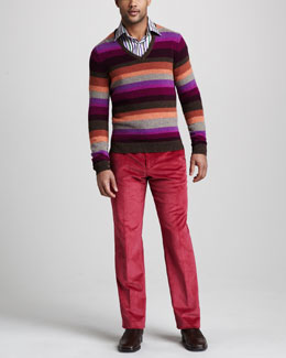 Etro Striped V-Neck Sweater, Striped Button-Down Shirt & Corduroy Trousers